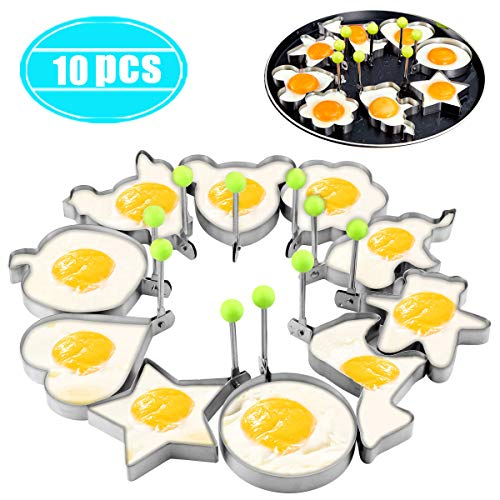 Twdrer 10 Pack Stainless Steel Fried Egg Rings Set,Egg Shaper Pancake Form Mold Maker with Handle Non-Stick for Griddle Pan