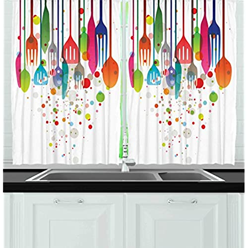 Ambesonne Kitchen Decor Collection, Home Decor Kitchenware Utensils Cutlery  Abstract Modern Cafe Art Design Vibrant, Window Treatments for Kitchen  Curtains ...