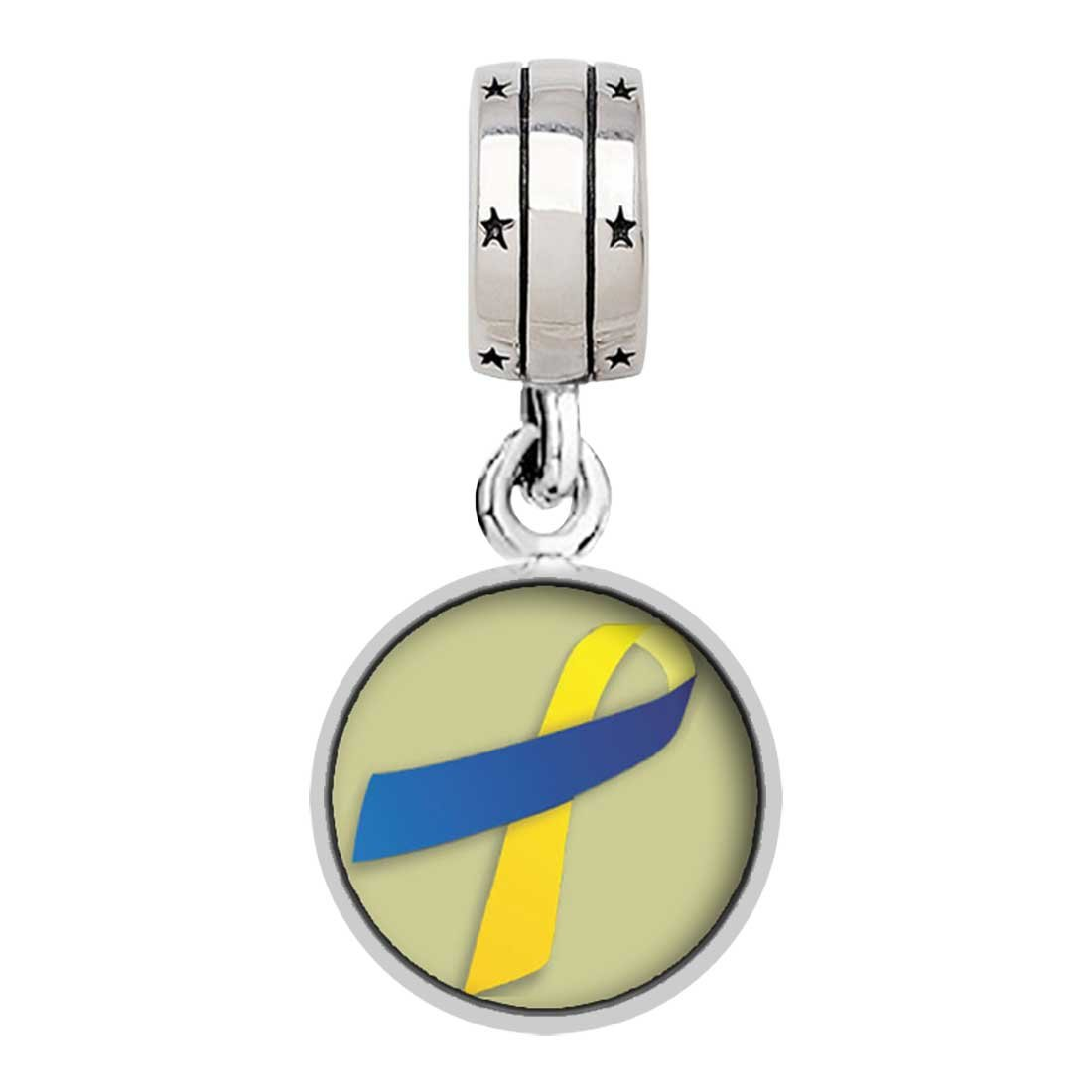 GiftJewelryShop Yellow with Blue Aids Ribbon Photo with God All Things are Possible Religious Dangle Charm Bracelets