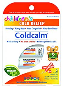 Boiron Children's Coldcalm, 1 Pack (2, 80-Pellet Tubes) Homeopathic Medicine for Cold Relief