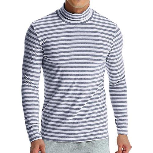 Realdo Mens Striped Sweatshirt, Casual Fashion Long Sleeve Turtleneck Knitted Tops(Grey,Large)