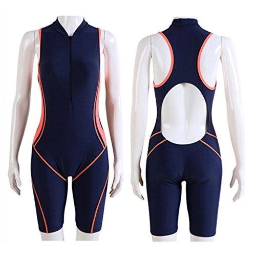 Summer Short Sleeve Swimwear One Piece Swimsuit For Women (Orange) - 9