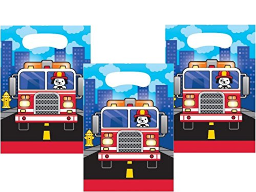 (Puppy Dog Fire Truck Plastic Treat Bags for 24 Guests)