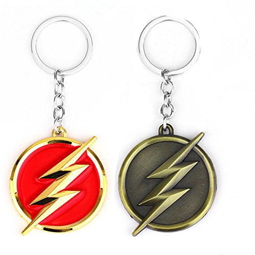 S&M TREADE-The Flash Lightning Keychain Red Gold Logo Key Ring Key Holder Fashion - Ban Www