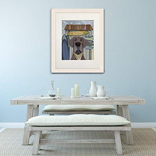 Cazvas Big Dog Print - Great Dane surf - Great dane Poster Great dane Painting Grey Dog Print Dog Poster Gift for Brother Beach Wall Art Funny Gift Frame