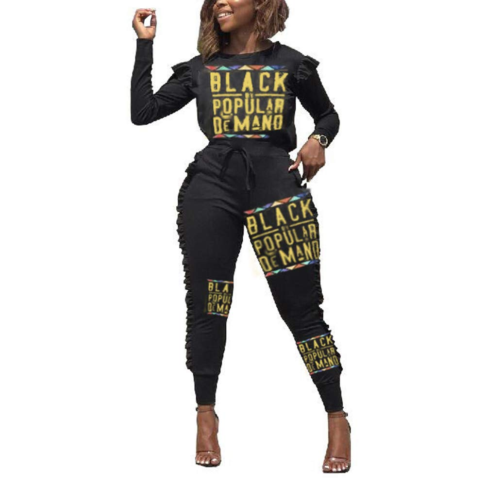 Womens 2 Piece Outfits Long Sleeve Round Neck Crop Top Color Block Pants Set Tracksuit