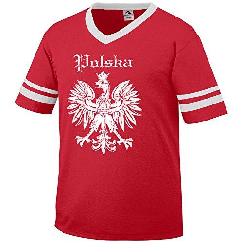 POLSKA vintage retro style soccer poland - Mens Cotton T-Shirt, XL, (Poland Soccer T-shirt)