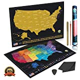 """Scratch Off Map of The United States Poster with Vibrant Colors and All USA State Flags with Scratch Tool, Flag Pins 