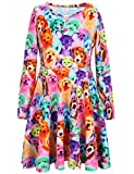Jxstar Girls Dress Animal Rainbow Dog Print Dress Long Sleeve tshirt Dress Rainbow Dog 140 Rainbow Dog Fall 8-9Years Height 53in