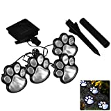 SuBoZhuLiuJ 4 LED Solar Light,with Pet Paws Animal Prints Outdoor Lamp Lantern for Path Lawn Landscape Garden Lights Yard Decor