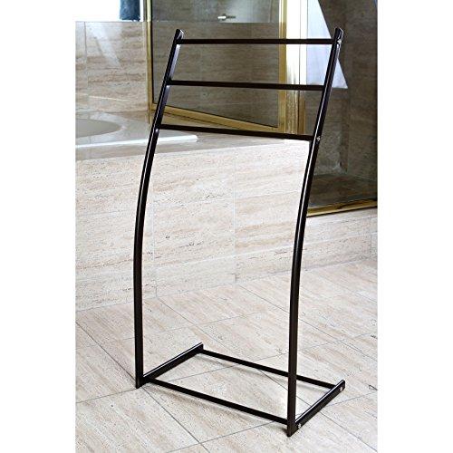 good Oil Rubbed Bronze Pedestal Iron Construction Bathroom Storage Towel Rack Holder