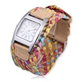 Vktech Fashion Candy Color Braided Plaited Rope Strap Wrap Quartz Lady Wrist Watch (Style A)