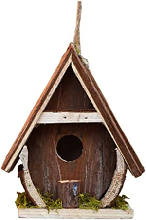 Wooden Nautical Bird House Nesting Box White Vintage with Metal Tin Roof Gift