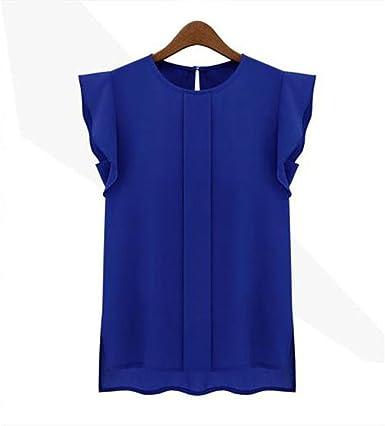 Koly Sexys Camisetas Para Mujer elegante Blusa Sin Mangas Chaleco De Gasa Suelto Camisetas y tops Blusas y camisas Manga de tulipán Pullover Sudadera Shirt: Amazon.es: Ropa y accesorios