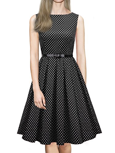 Dresses Style black 1950s Swing iLover Party Women's Rockabilly Vintage Dress V057 vYqwwfPx