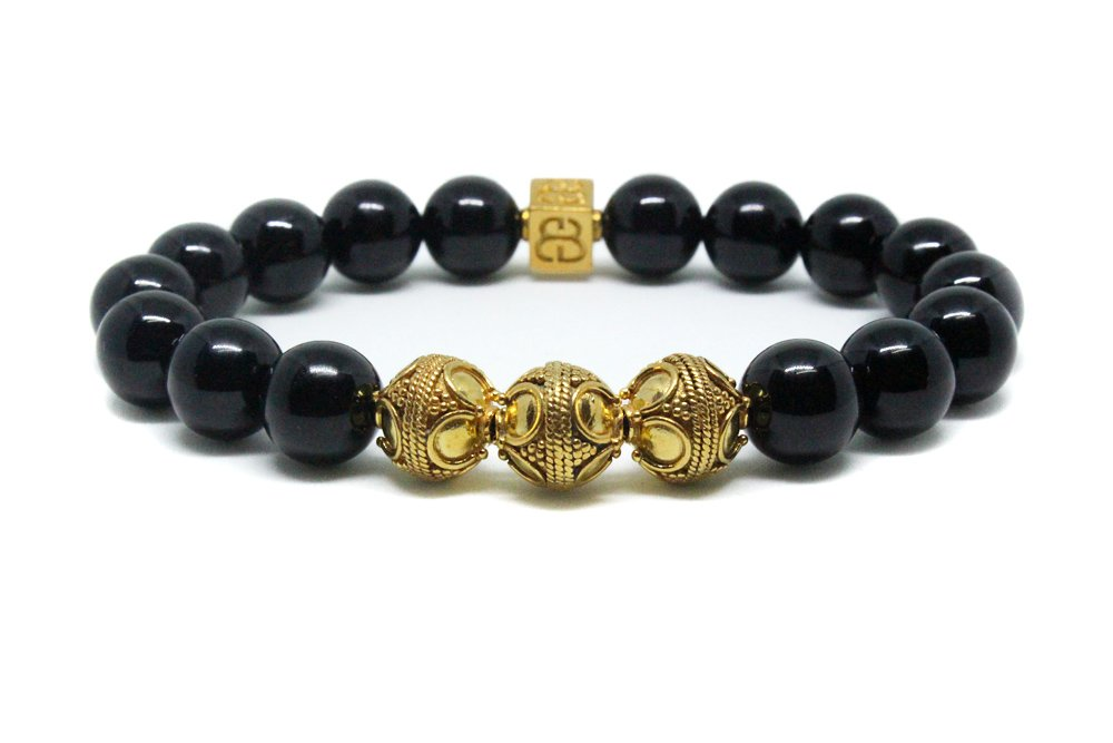 Men's Black Onyx and Gold Beads Bracelet, Men's Luxury Bracelet, Men's Gold Bracelet by Kartini Studio