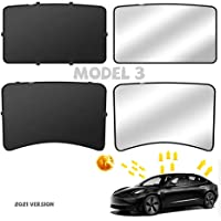 Tesritar Folding Roof Sunshade Sunroof Double Layer for Tesla Model 3 2021 Black