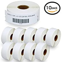 """10 Rolls DYMO 30252 Compatible 1-1/8"""" x 3-1/2""""(28mm x 89mm)Self-Adhesive Address Labels,Compatible With Dymo 450, 450 Turbo, 4XL And Many More"""