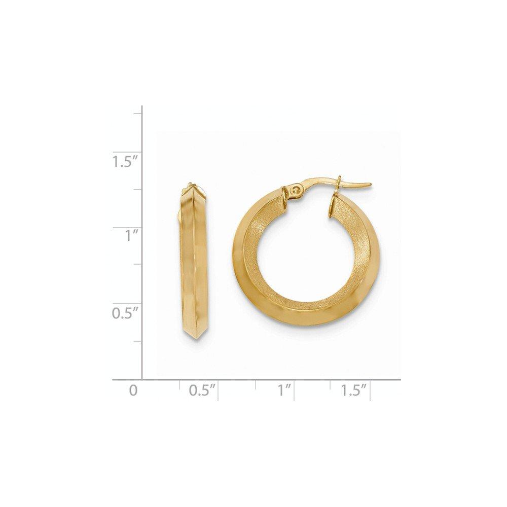 Mia Diamonds 14k Yellow Gold Satin and Polished Beveled Edge Hoop Earrings