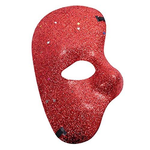 jinjiu Masquerade Half Sequins Face Mask Halloween Prom Party Mask Accessories (Silver Sequin Eyemask)