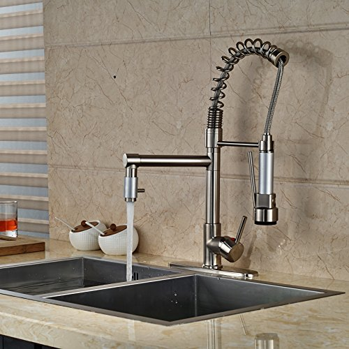 senlesen brushed nickel kitchen sink faucet pull out down sprayer mixer taps wet sink bar faucets with
