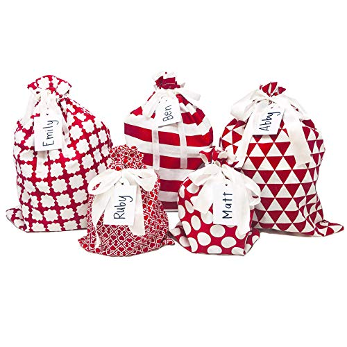 Appleby Lane Fabric Gift Bags (Standard Set, Red) 100% Cotton, Set of 5 Bags: Three 16