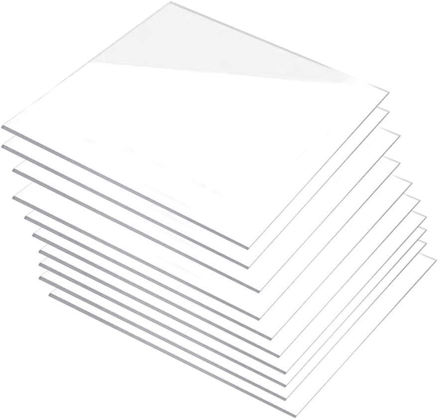 300/×200mm,100mm x100mm x 2mm Zewoi 10 Pcs Perspex Acrylic Sheet Transparent Thin Plate for DIY Craft Boards Cut
