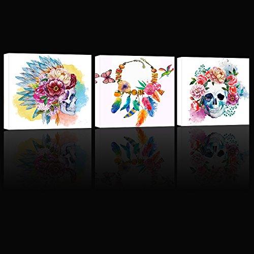 (Visual Art Decor Flowers Skull Wall Art Dream Catcher Sugar Skull Poster Art Decor Prints Wall Art (Modern Skull Xlarge))