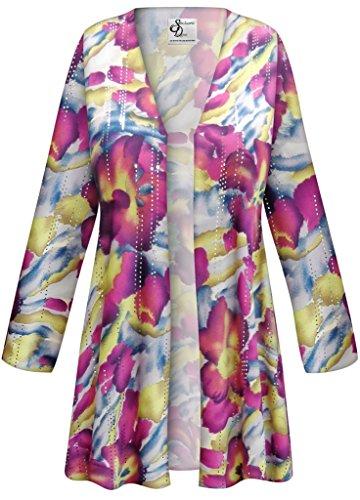 Purple & Lime Floral Slinky Print Plus Size Supersize Standard Jacket 3xT