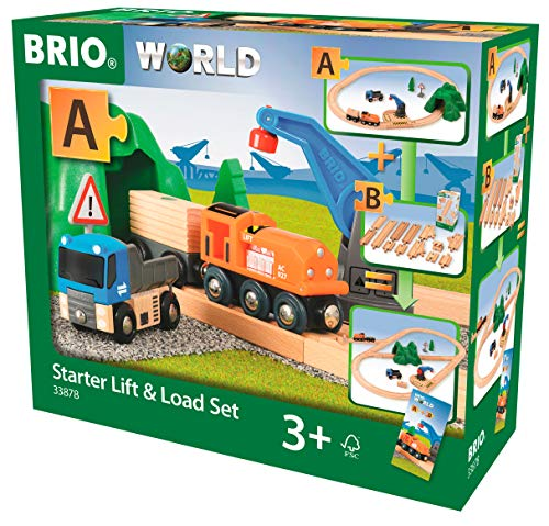(Brio Starter Lift&Load Set Wooden Toy Train, Multi)