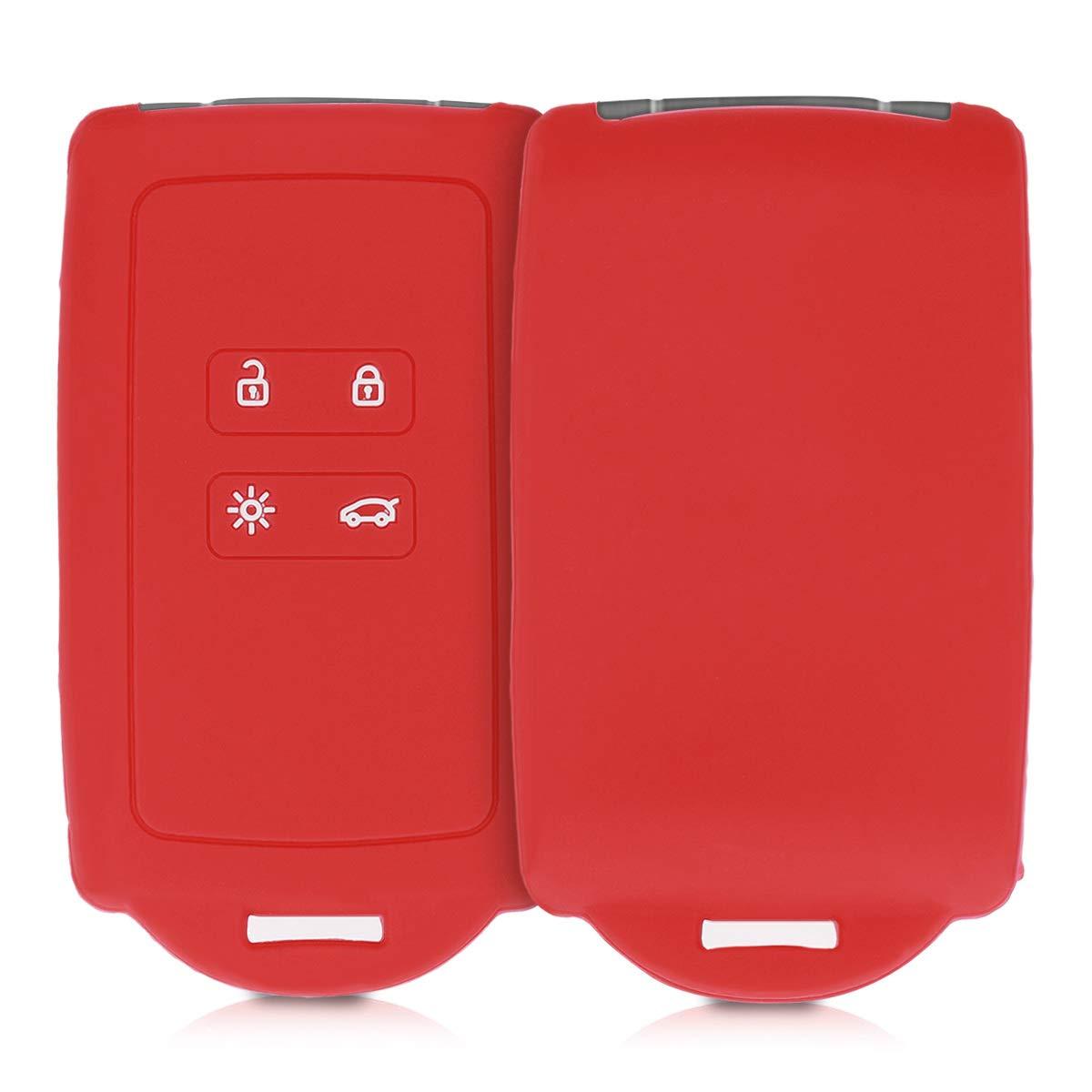 Keyless Go Uniquement Blanc - /Étui Souple avec Embout Porte-Cl/é kwmobile Accessoire Cl/é de Voiture pour Renault Coque Silicone pour Clef de Voiture Smart Key Renault 4-Bouton