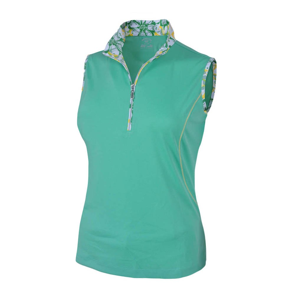 Monterey Club Ladies Dry Swing Daisy Stamp Sleeveless Contrast Shirt #2358 (Spring Bud/Butter, Large)
