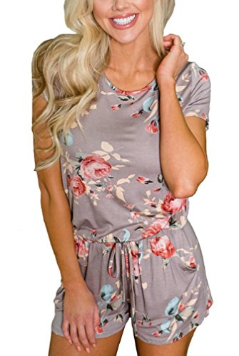 Elsofer Women's Summer Floral Printed Cute Rompers Short Sleeve Tie Back Loose Casual Beach Jumpsuit Romper Shorts with Pockets (M, Picture Color)
