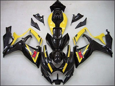 Black w/ Yellow Fairing ABS Injection for 2006-2007 Suzuk...