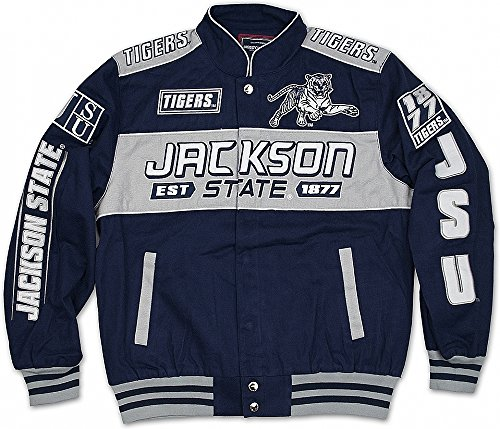 Big Boy Jackson State Tigers S11 Mens NASCAR Racing Twill Jacket [Navy Blue - S]