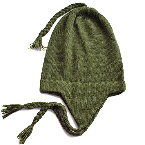 The Alpaca Collection, 100% Alpaca Wool Chullo Beanie Hat Leaf Green One Size