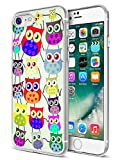 for iPhone 7 Case Owls,for iPhone 8 Case Owls,Ecute Soft Slim Flexible Rubber Side + Style Hard Back Case Compatible with iPhone 8(2016) and iPhone 7(2017) - Funny Lovely Owls