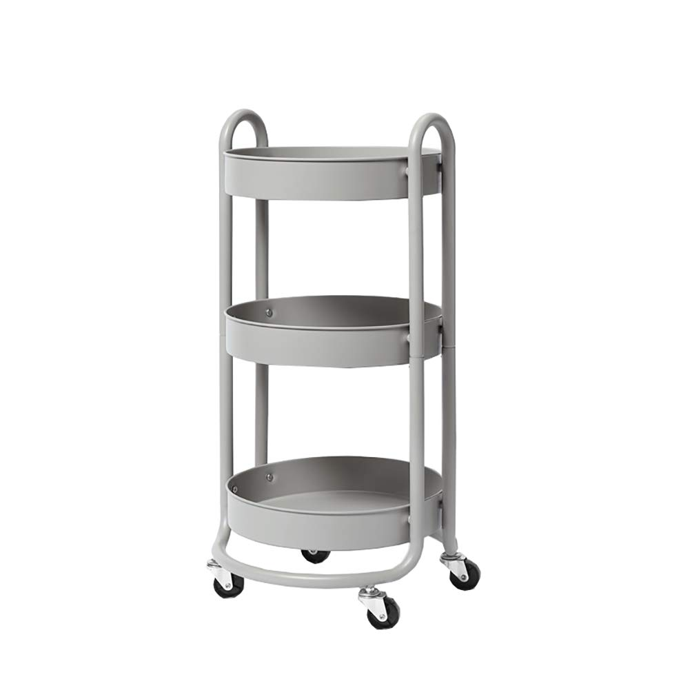 Kitchen Cart Universal Wheel, Three-Tier Kitchen Storage Rack Stainless Steel Fruit and Vegetable Storage Basket, Multi-Purpose Round
