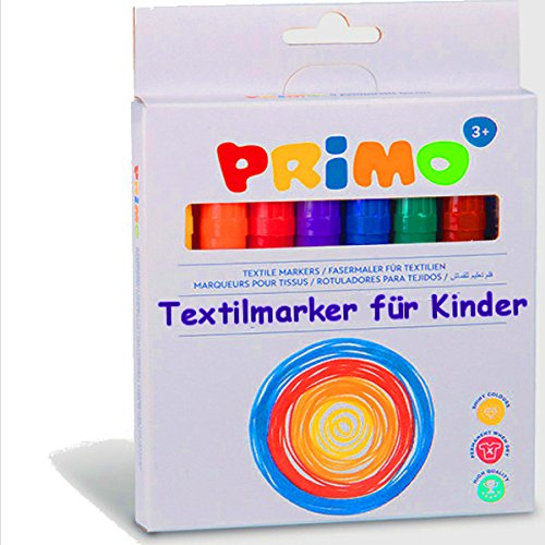 German Trendseller®- 8er - Set Textilstifte für Kinder ┃ Kindergarten / Grundschule ┃ Gelb , Orange , Rot , Blau , Violett , Grün , Braun , Schwarz