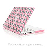 TopCase Chevron Series Gray Insert Pink Ultra Slim Light Weight Rubberized Hard Case Cover for Macbook White 13