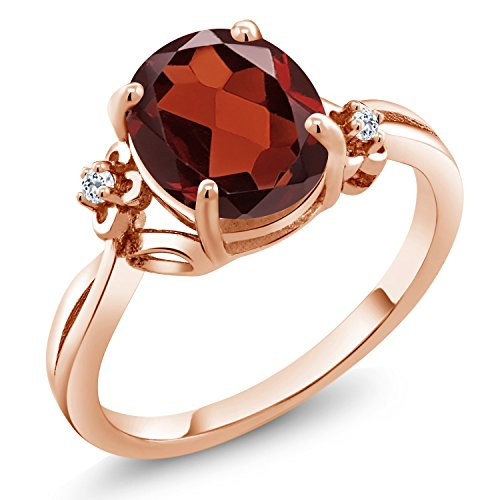 Gem Stone King 2.54 Ct Oval Red Garnet White Topaz 18K Rose Gold Plated Silver Ring (Size 7)