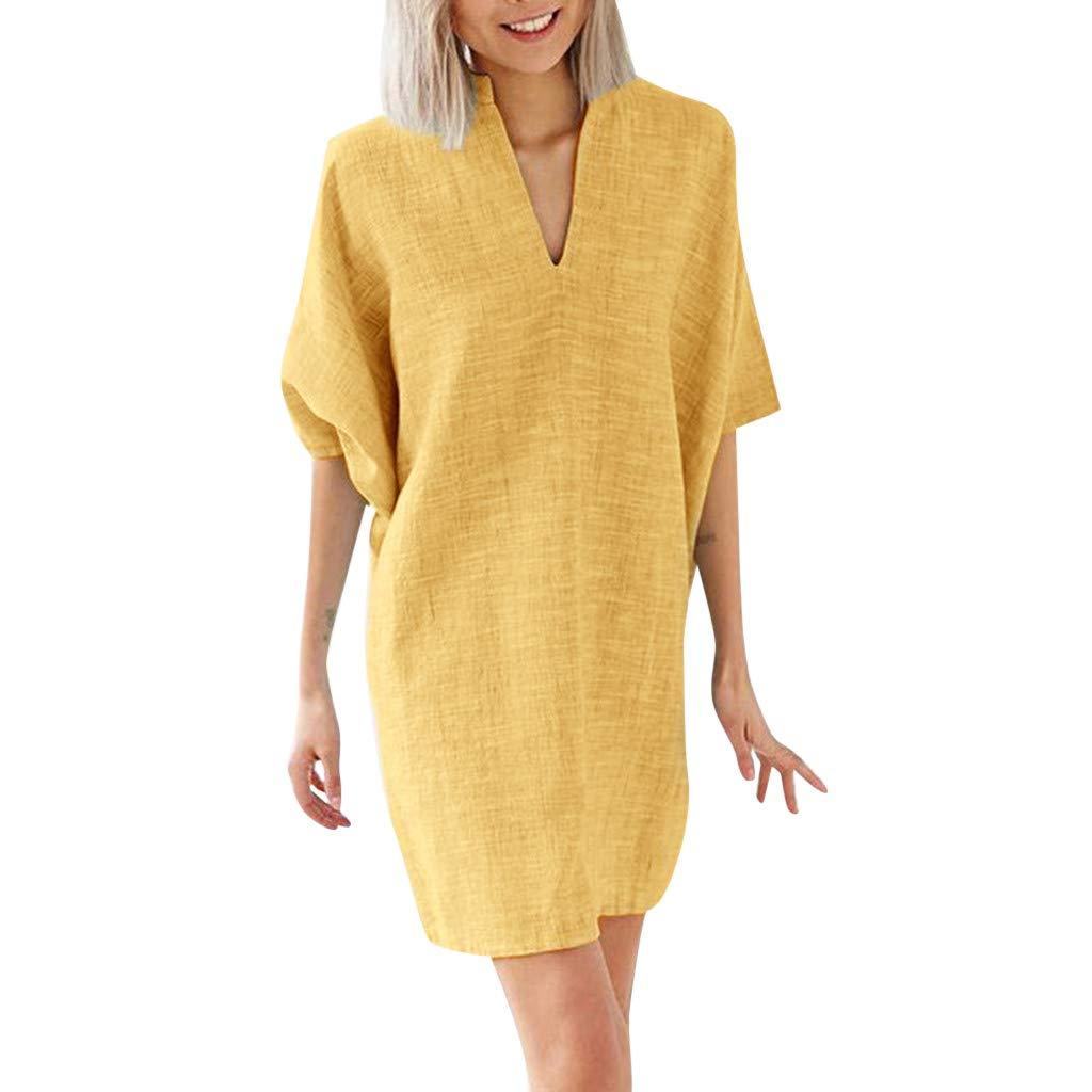 Pingtr Women Summer Dress Casual Half Sleeve V-Neck Dresses