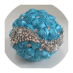 Lady nightovia Crystal Wedding Bouquet Red Brooch Bouquet Wedding Accessories Bridesmaid Artificial Wedding Flowers Bridal Bouquets FE8,Sky Blue 21