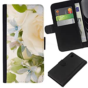 KingStore / Leather Etui en cuir / Sony Xperia Z1 L39 / Yellow Rose Green Spring brillante Novia