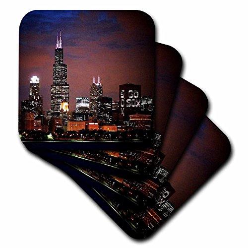3dRose Sandy Mertens Illinois - Chicago Skyline at Night - set of 4 Ceramic Tile Coasters (cst_26369_3)