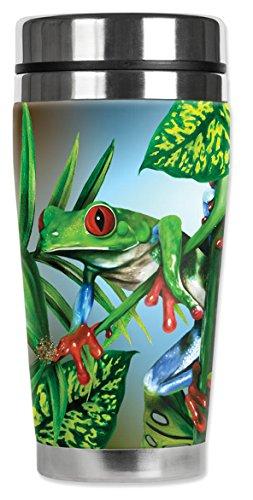 """Mugzie 736-MAX """"Red Toe Tree Frog"""" Stainless Steel Travel Mu"""