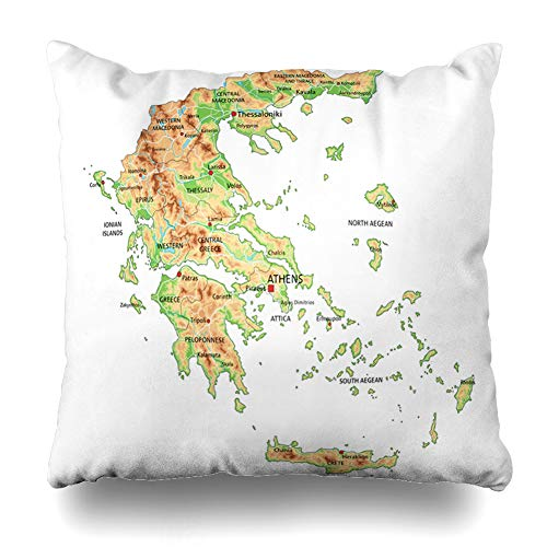 Pandarllin Throw Pillow Cover Union Aegean High Detailed Greece Physical Map City Labeling Greek Abstract Athens Atlantic Atlas Cushion Case Home Decor Design Square Size 20 x 20 Inches Pillowcase