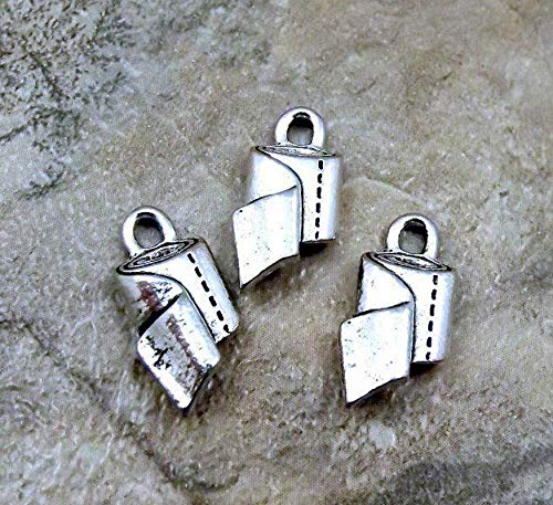 3 Pewter Charms - Bathroom Tissue ROLL - Toilet Paper Vintage Crafting Pendant Jewelry Making Supplies - DIY Necklace Bracelet Accessories CharmingSS