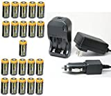 Ultimate Arms Gear 21pc CR123A 3V 1200 mAh Lithium Rechargeable Batteries Battery Charger Kit Universal 110/220V Rapid Wall Outlet & 12V Car Lighter Plug Adapter AIM SPORTS Flashlight Optics