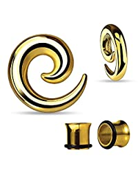BodyJ4You Curved Spiral Taper and Tunnels Kit Goldtone Surgical Steel 2G-14mm (4 Pieces)